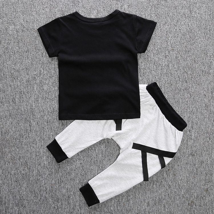 Baby Boy Clothes Short-sleeved T-shirts + pants children Boys Summer style Kids clothing boy set Smiley face