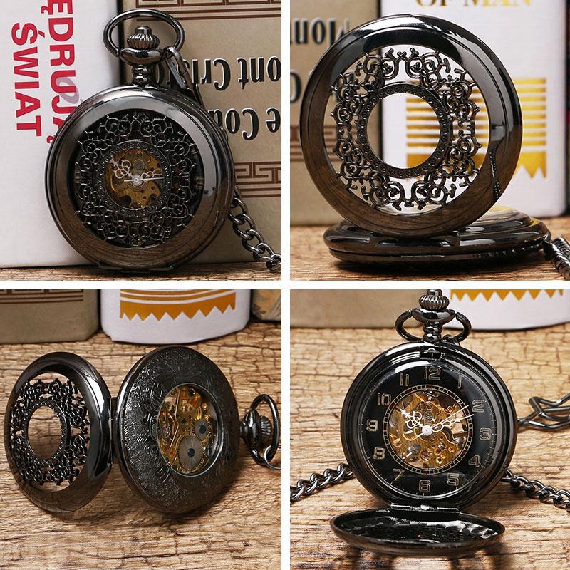 Luxury Watch Jewel Set Engraving Grilles Hollow Stainless Steel Mechancial Hand Wind Pocket Watches Men Women Children Clock Gift