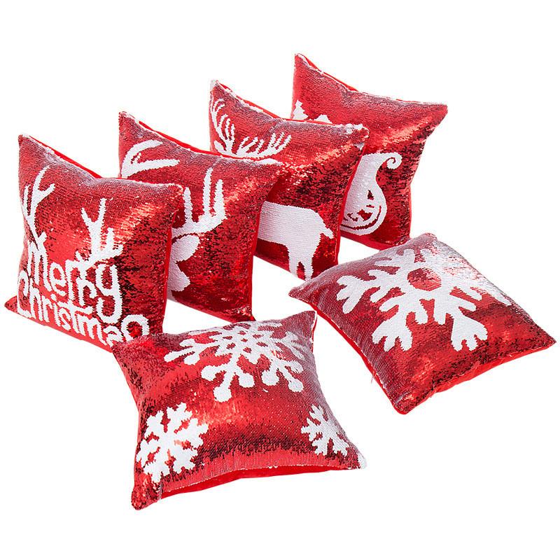45*45cm Mermaid Sequin Christmas Pillow Case Cover Snowflake Reindeer Pillowcase Home Sofa Car Cushion cover Xmas Decoration halloween