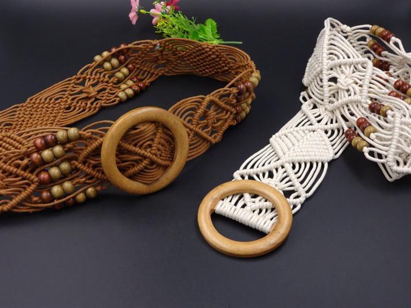 New Vintage Strick Wachs Seil Holzperle Taille Seil Frauen Glatte Schnalle Gürtel Frau Hohl Woven Weibliche Hand-Perlen Geflochtenen Gürtel