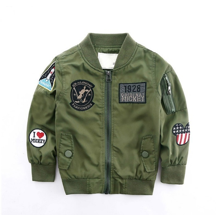 Fashion Spring Autumn Jackets For Boy Coat Bomber Jacket Army Green Boy's Windbreaker Jacket Letter Print Kids Children Jacket Age 3-13