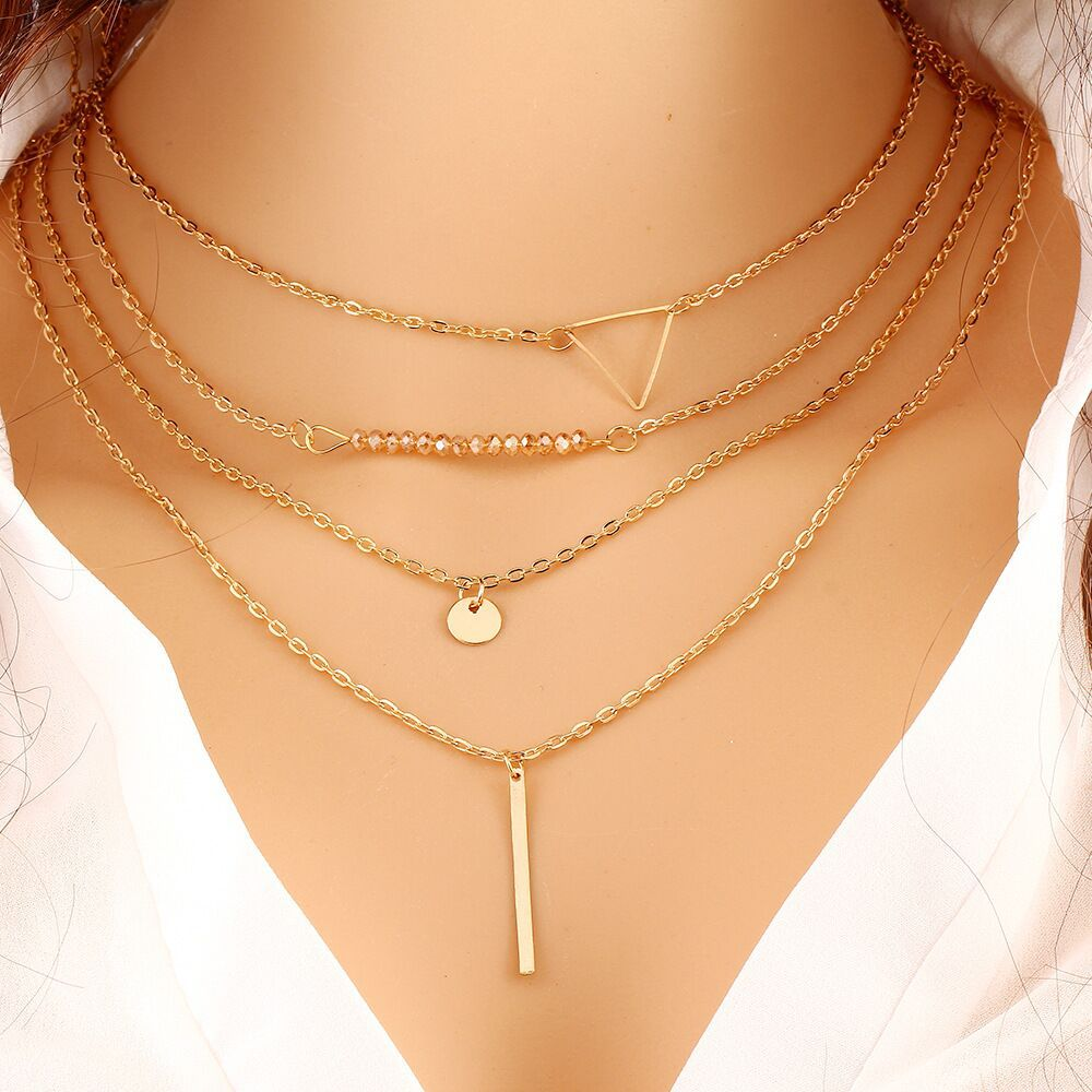 Choker Necklaces Boho Pearls Diamond Chain Multilayer Long Necklaces For Women Men Beads String Tassel Metal Bar Layered Gold Chain 2058