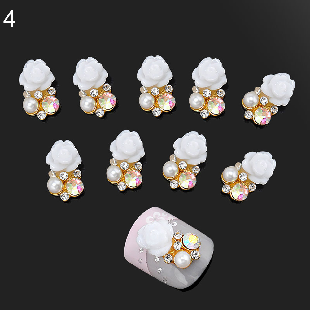 10 Pcs Faux Pearl Rhinestone Flower Nail Art Slices Stickers DIY Decorations (1)