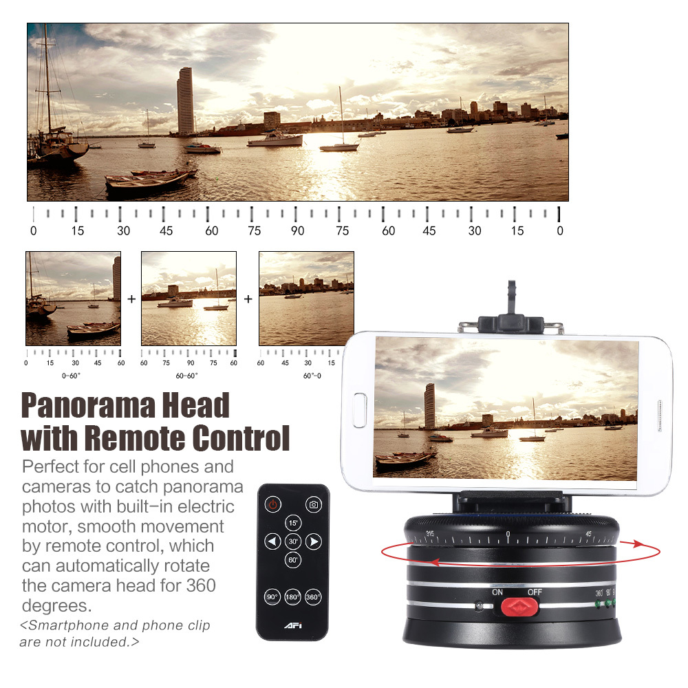 MRA01 Professional 360 Metal Electric Panorama Tripod Ball Head w/Remote Control for GoPro Action Camera DLSRS Smartphones