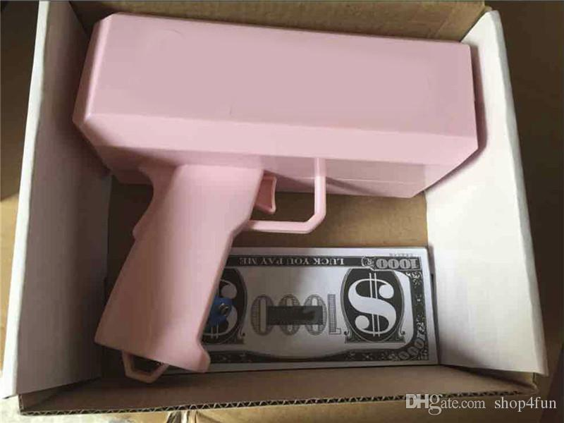 2017 Cash Cannon Money Gun Decompression Fashion Toy Make It Rain Money Gun With Battery Christmas Gift Toys