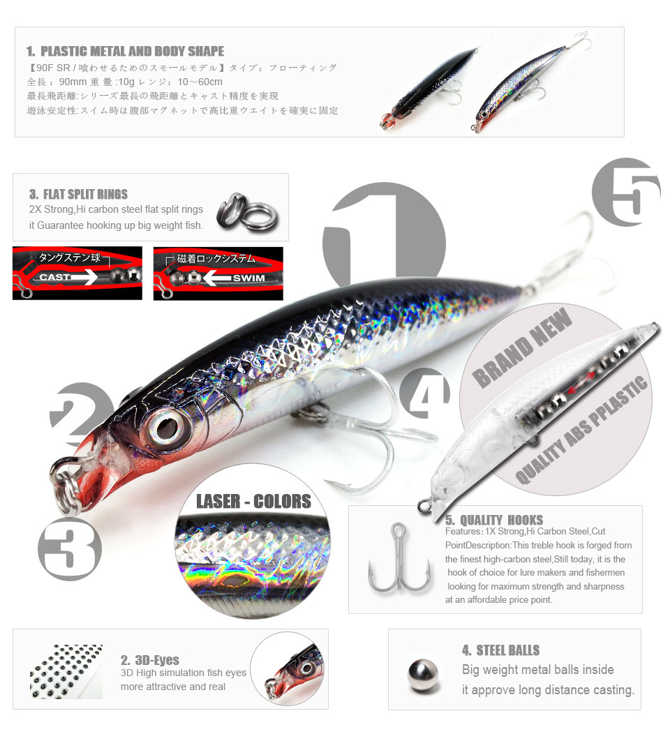 2017 Hot model bearking Retail fishing lures, floating minnow,penceil bait size 90mm 10g,magnet inside,dive 0.5mY1883010