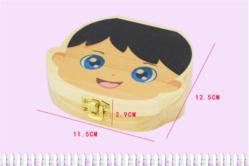Color Painting Baby Teeth Box Girls Boys Image Kids Milk Tooth Save Wood Boxes storage Organizer Creative Gifts for Children Trave Kit 2018