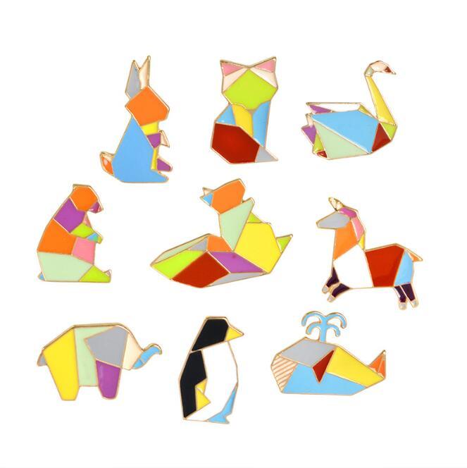 Origami animals logo templates collection 2: bird, duck, dog ... | 664x663