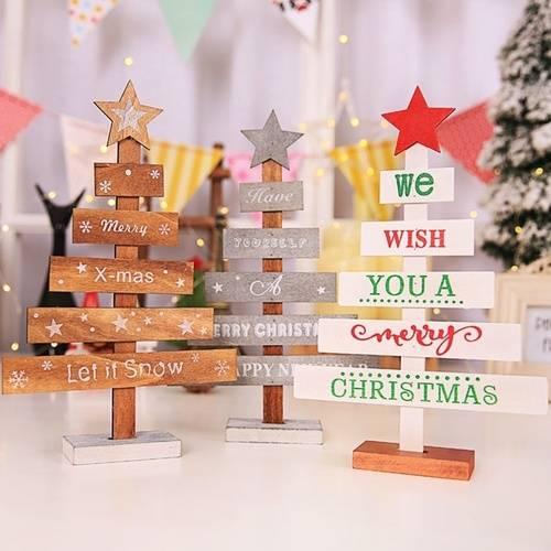 Wooden Christmas Tree Marry Xmas Let It Snow Mini Christmas Decorations 28 cm