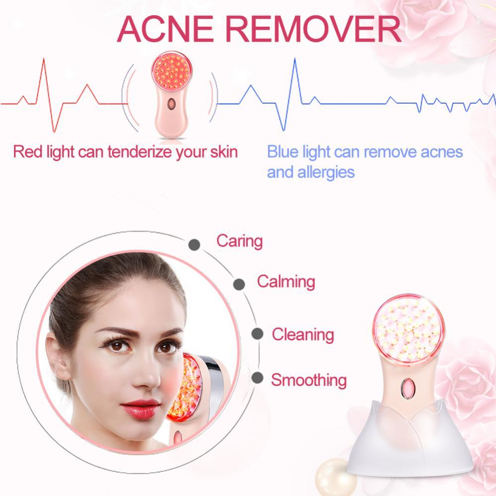 Blue Red LED Light Photon Therapy Massager Skin Lifting Acne Wrinkle Removal Tender Skin Phototherapy Mini Anti Aging Machine