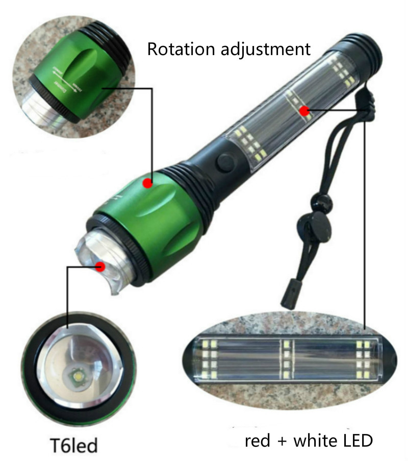 Recharging USB Solar LED Flashlight Emergency Light Safety Hammer Power Bank Outdoors Compass Survival Tool For Travel, Camping Torch