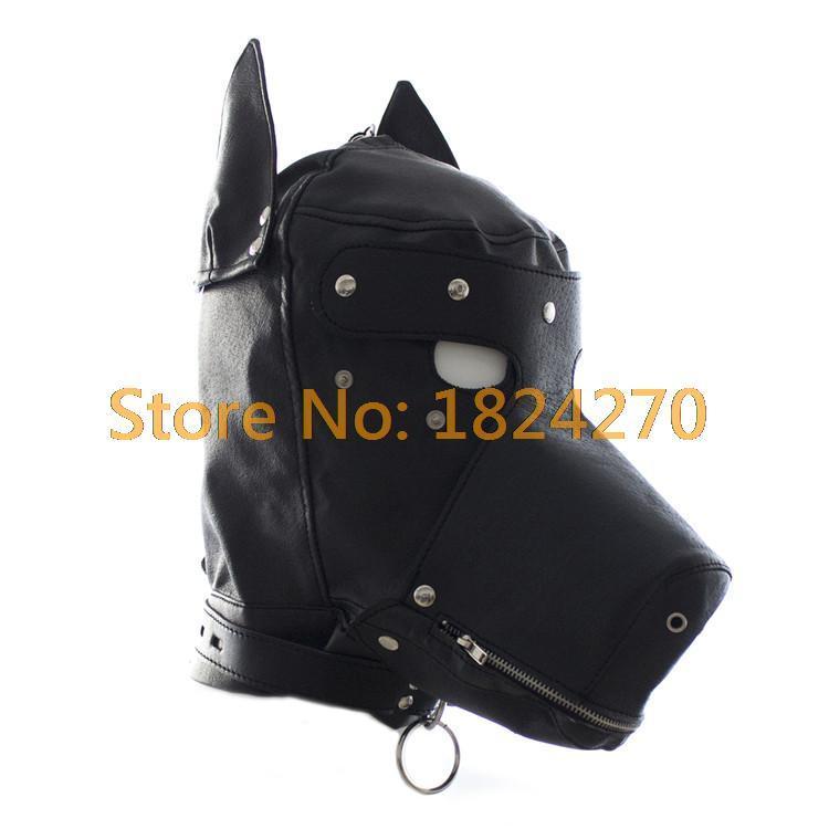 Falsa Fetiche De Couro Máscara Do Cão Sexy Realistic Cabeça Bondage Capuz Animal Preto Dog Sex Mask Adulto Jogos de Halloween Trajes Sexy Y1892609