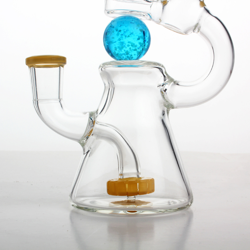 2018 Rushed Limited Asd-1 Luminous Rotatable Ball Glass Water Bong Oil Dab Rig Beaker Based Nectar Collection Percolator Bubblers 18cm Tall