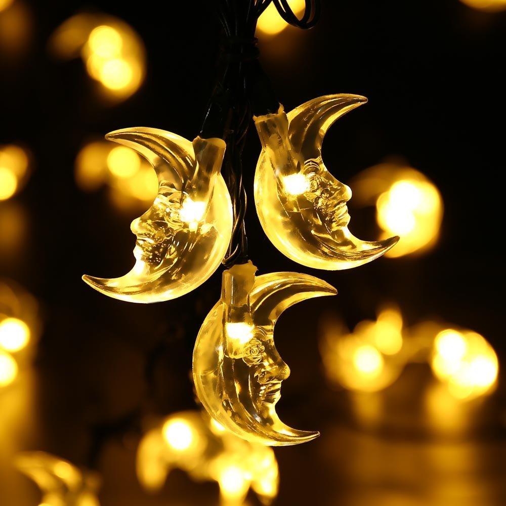 Waterproof Solar Christmas Light Vivid Moon Solar Powered Fairy String Light For Outdoor Garden Home Desk Decoration Wholesale Dropship