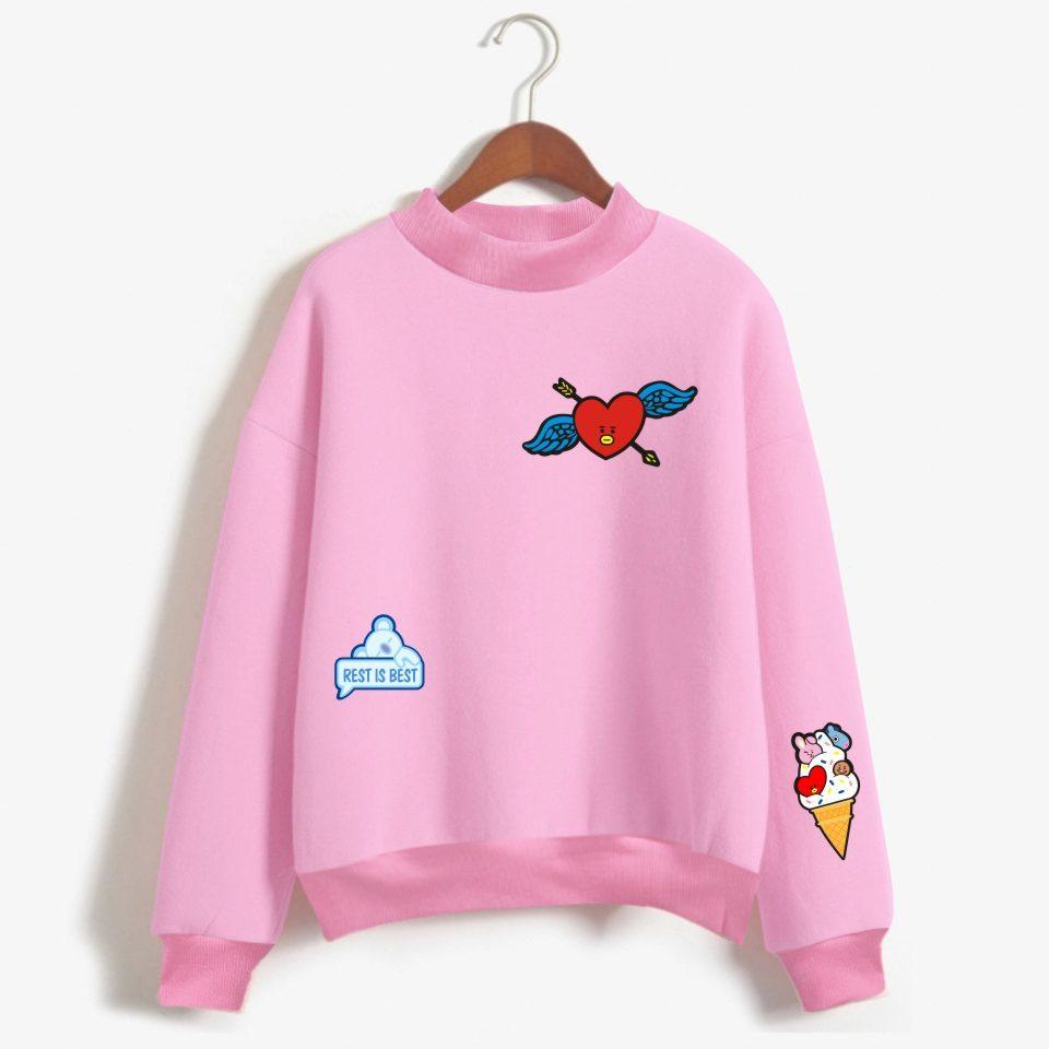 LUCKYFRIDAYF BTS Kpop Love Yourelf Oversize Turtlenecks Hoodies Sweatshirts Women Kawaii Female Anime Sweatshirts Clothes Y1891402