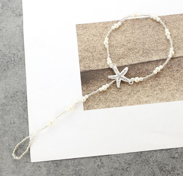 new Fashion Pearls Barefoot Beach Sandals For Weddings Crystals Starfish Anklets Chain Cheap Toe Ring Bridal Bridesmaid Foot Jewelry