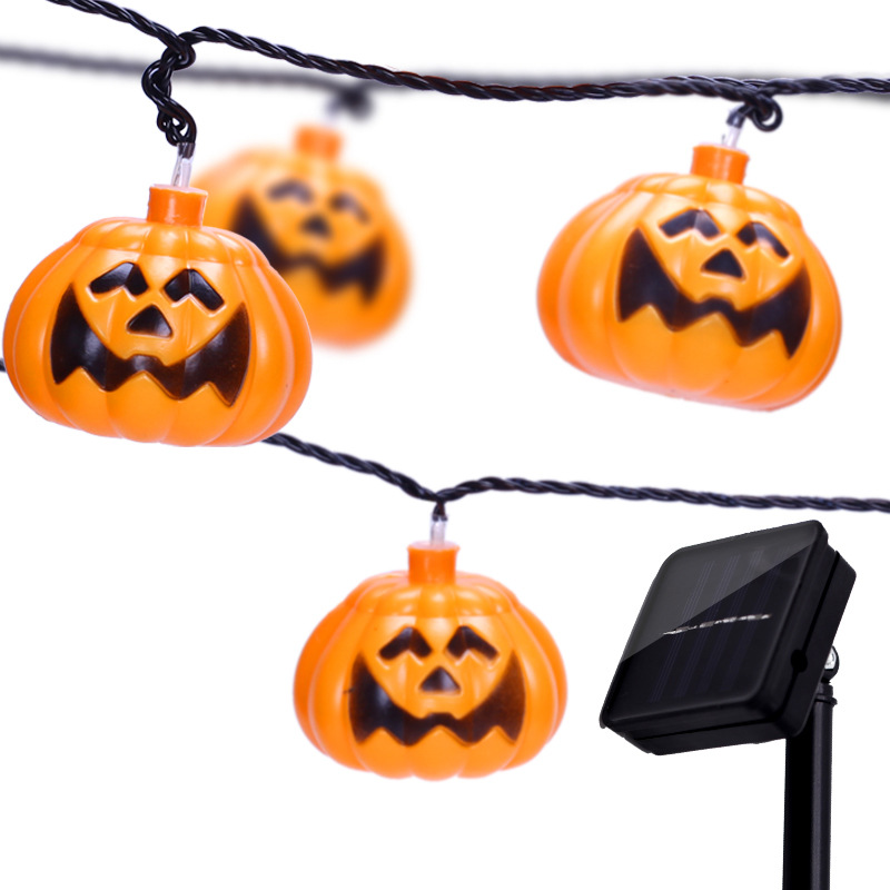 Solar String Light Simple 30 LED Pumpkin Outdoor Waterproof IP65 Lamp String For Halloween Garden Home Decoration Wholesale Dropship