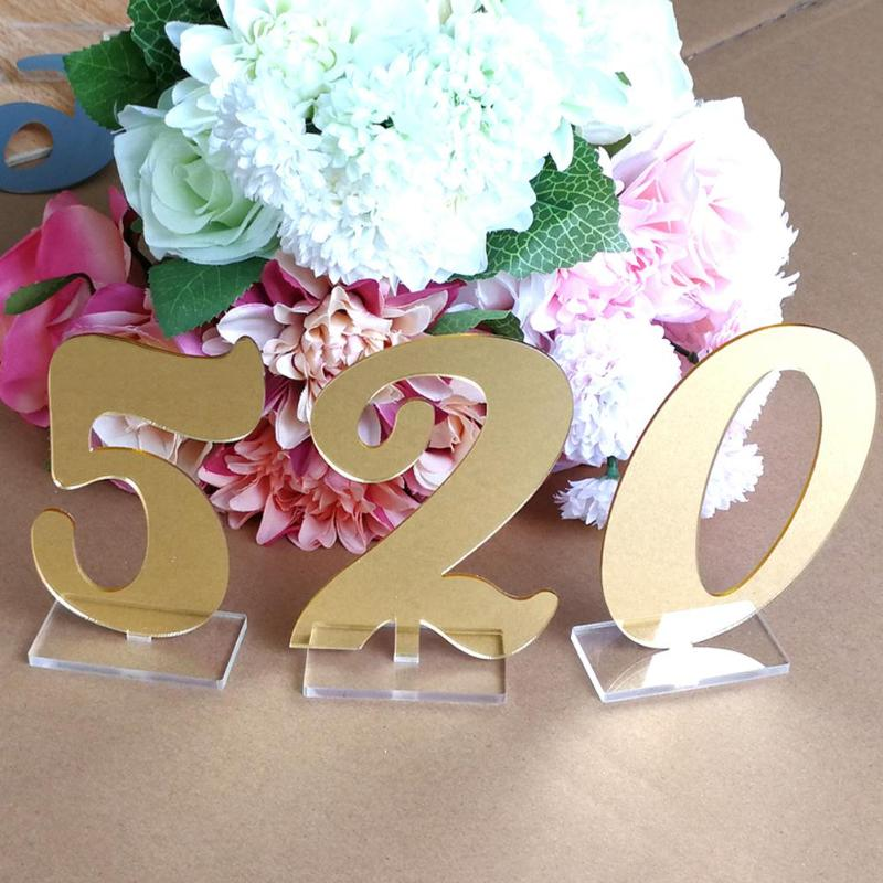 10pcs Clear Acrylic 0-9 Table Standing Numbers for Weddings Events Decor with Holder