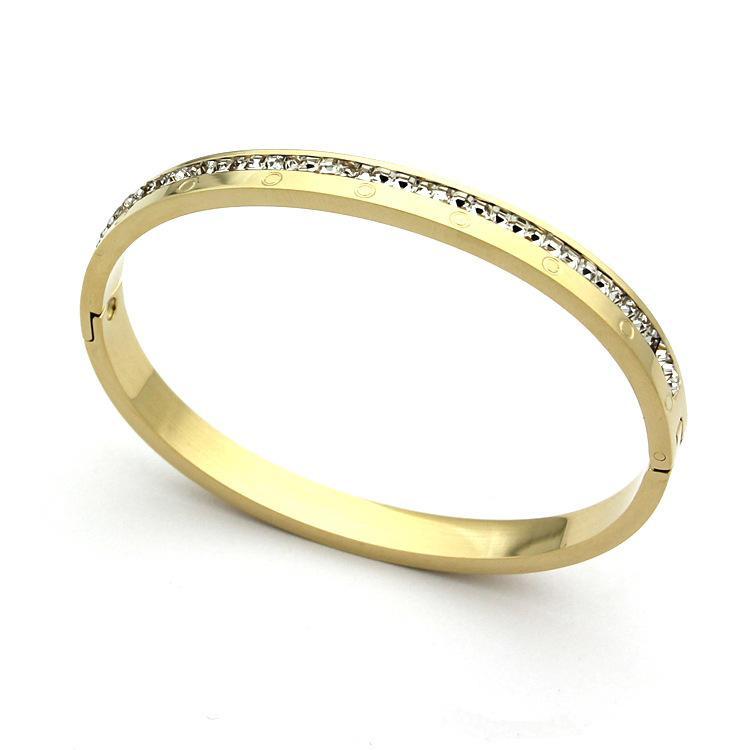 Brazalete de oro de la marca de moda Brazalete de oro de titanio con diamantes Brazaletes de plata de oro rosa para las mujeres y los hombres Pulsera ancho 0.8cm