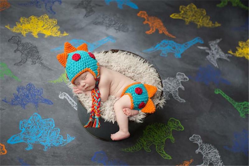 Вязание Крючком Новорожденных Мальчиков Динозавр Наряды Детские Фотографии Реквизит Трикотажные Динозавр HatDiaper Набор Младенческой Фото Реквизит