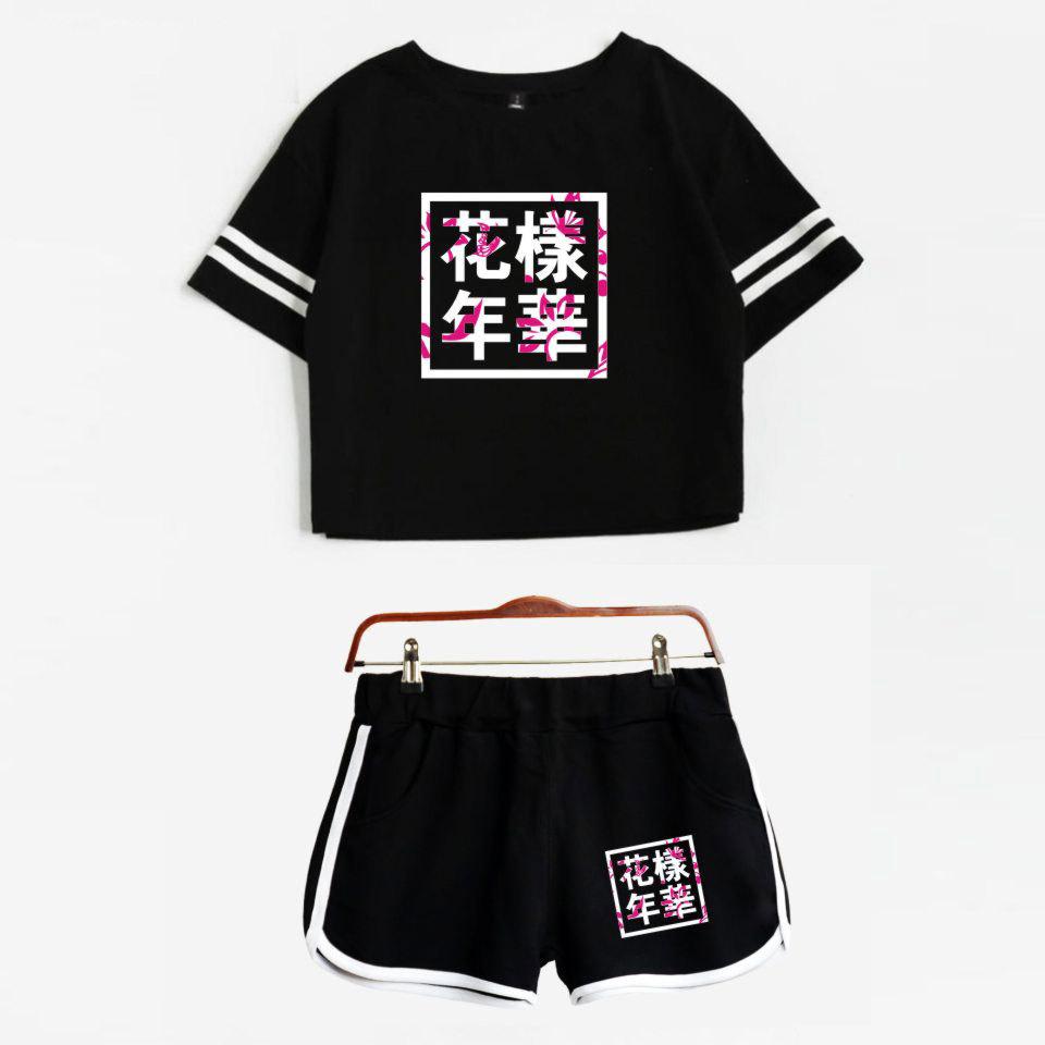 2018 Summer BTS tracksuit Two Piece Set Cotton Printed Striped T shirt BTS Kpop Album Woman Suit Shorts Crop Tops + Shorts Pants Y1891901