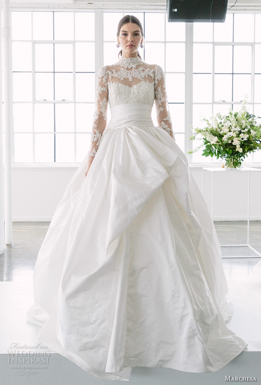 8fe52cef Long Sleeves Illusion High Neck Wedding Dresses 2018 Marchesa Bridal  Sweetheart Neckline Heavily Embellished Princess Ball Gown A Line