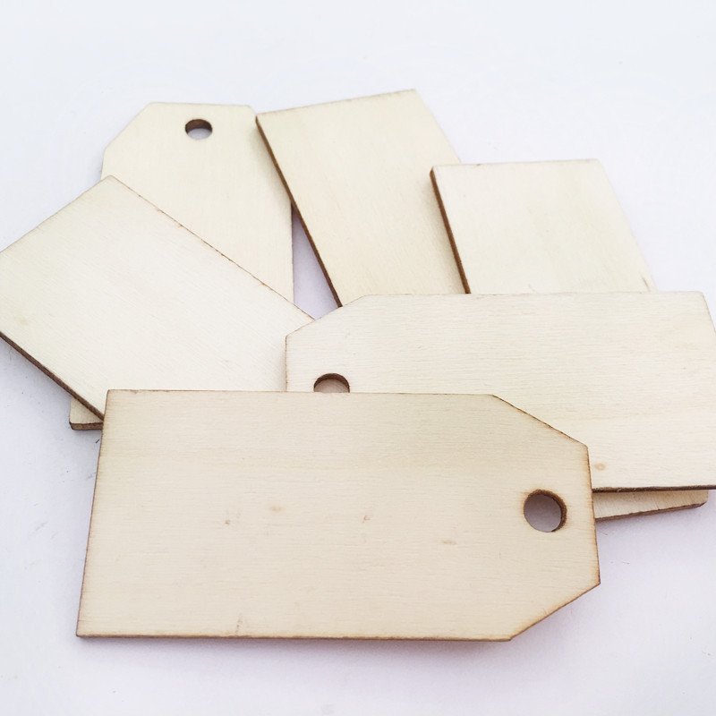 50 Stück Natürlichen Rechteck Blank Holz Geschenkanhänger Holz Hängen
