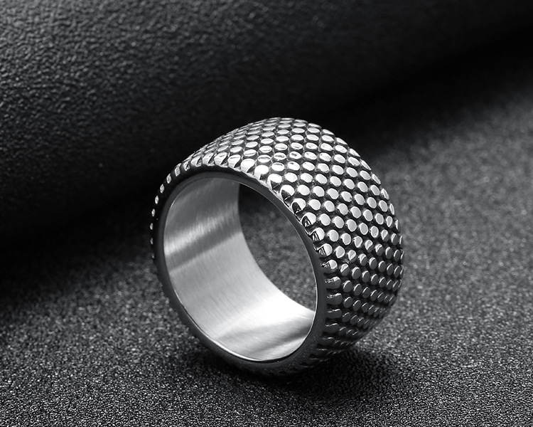 New 13mm Antique Silver Style 316L Stainless Steel Ring Mens Tire Ring Couple Jewelry Punk Rings For Male Wedding Band Jewelry R008