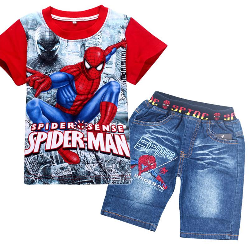 Kinder Baby Jungen 3tlg Kleidung Outfit Set Sommer T-Shirt Schal Denim Jeans