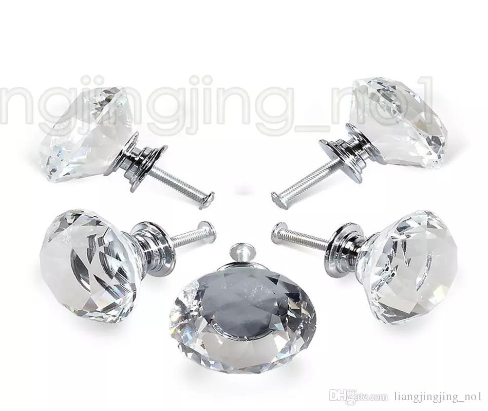 40mm Diamond Crystal Drawer Pulls Knobs Glass Alloy Door Drawer Cabinet Wardrobe Pull Kitchen Cabinet Handle Knobs GGA942