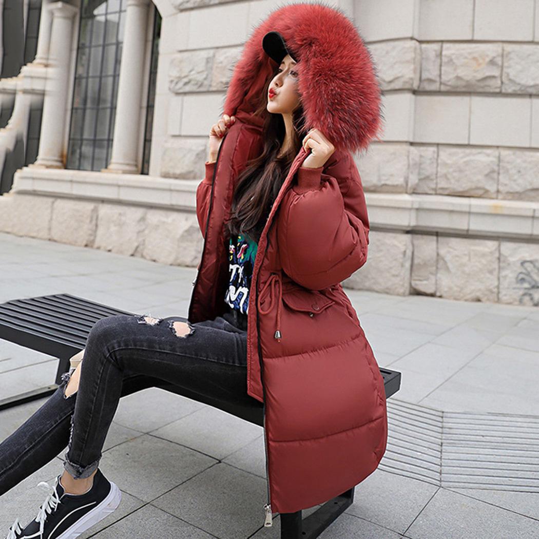 2018 Frauen lange Parka Faux Pelzkragen mit Kapuze Mantel Jacke Winter dicke warme Baumwolle gepolsterte lange Mäntel Schlank Mantel weibliche Outwear