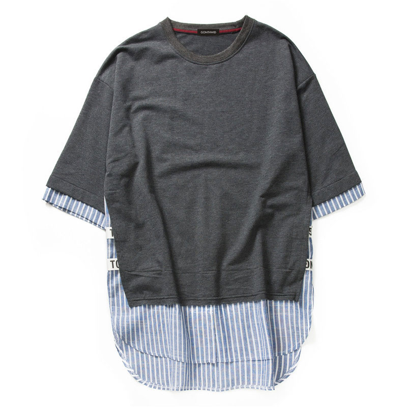 Striped Patchwork Curved Hem Extended T Shirts 18