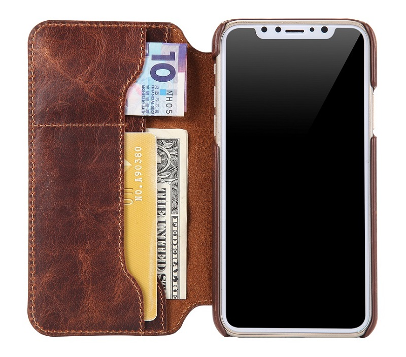 Solque luxury leather case for iPhone X 5.8\'\' flip wallet cover cases