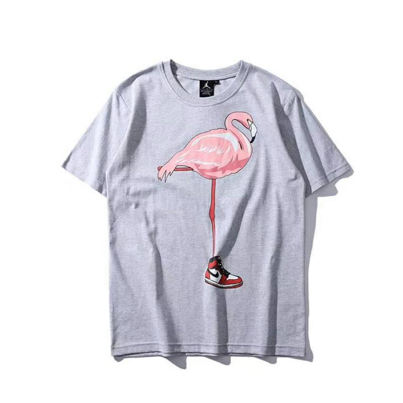 New Men Designer T Shirts Fashion Tide Mens Clothing Fly-man Shirt Bird Flamingo Print Crew Neck Sport Summer Casual Women & Men T Shirt
