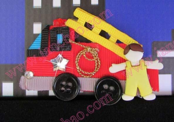 Firetruck Hair Clip.Firefighter.