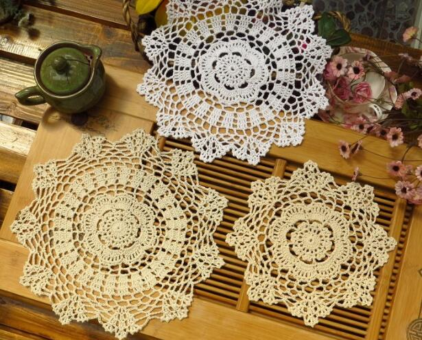 HOT Round lace cotton table place mat pad Cloth crochet placemat cup mug Christmas tea coffee coaster dinner dish doily kitchen
