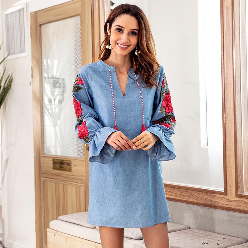 Women Dress Designer Autumn Long-sleeved Denim Blue Drawstring V-neck Embroidery Lantern Loose Dresses Female Shirt