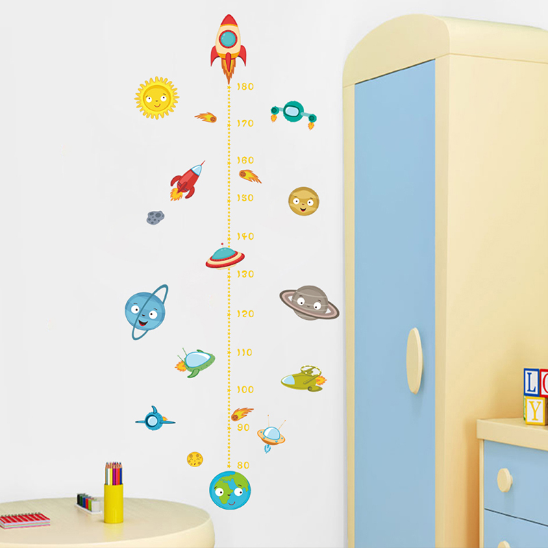 Solar System Rocket Height Measure Wall Stickers Kids Nusery Rooms Outer Space Sky Poster Growth Chart PVC Mural Decor Wall Arthaif