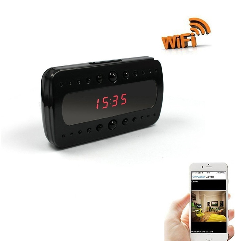 1080P HD Wi-Fi Clock Camera Alarm Clock Motion Activated DVR Wireless Security Camera Nanny Cam App Real-Time Video Viewing Baby Monitor