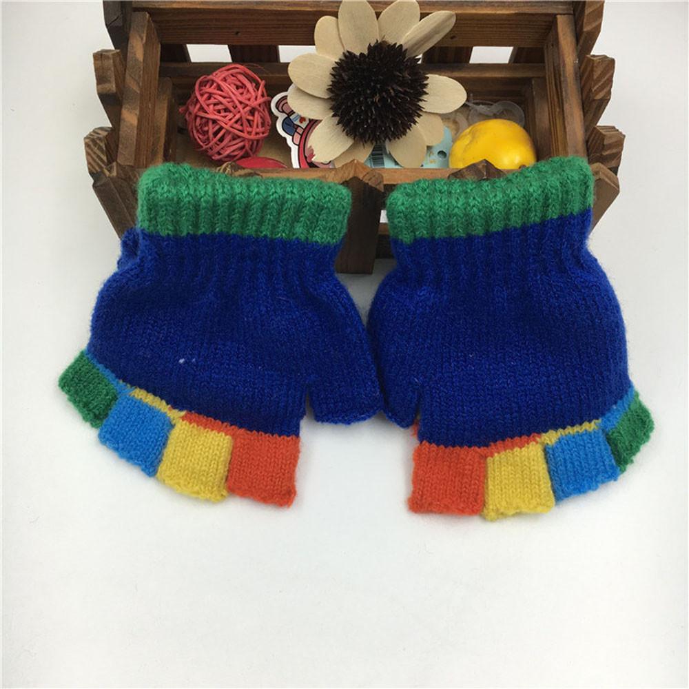 Winter Kids Gloves Fashion Half Finger Gloves Baby Cute Thicken Patchwork Hot Girls Boys Winter Warm Gloves luvas de inverno S1025