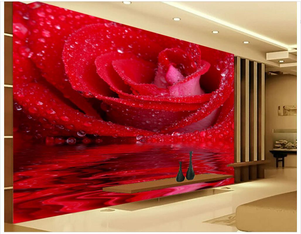 3D HD Water Rose TV Background Wall mural 3d wallpaper 3d wall papers for tv backdrop