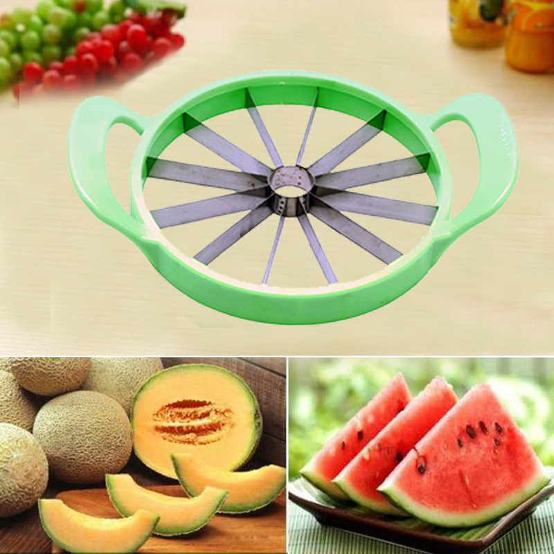 Fruit Watermelon Melon Cantaloupe Stainless Steel Cutter Slicer Kitchen Tool H2
