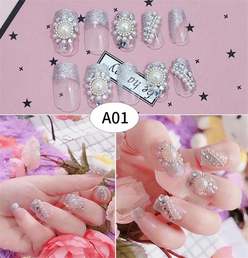 24pcs/set 3D Fake Nails Bride Glittering French Acrylic Nails Ladies False Nails Artificial Nail Art Middle-long Full Nail Tips