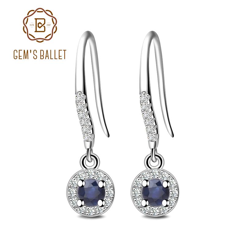 Sólido 925 plata esterlina Clásico Azul Zafiro CZ Stud Pendientes Joyería II