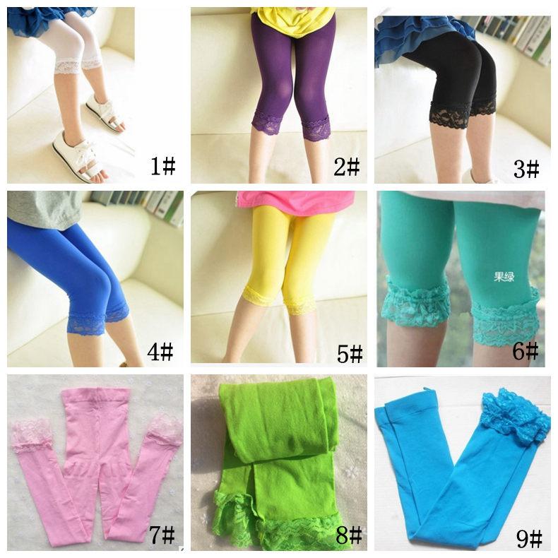 Kid Girl leggings summer stretch Lace Leggings skinny capris Pant Candy color L