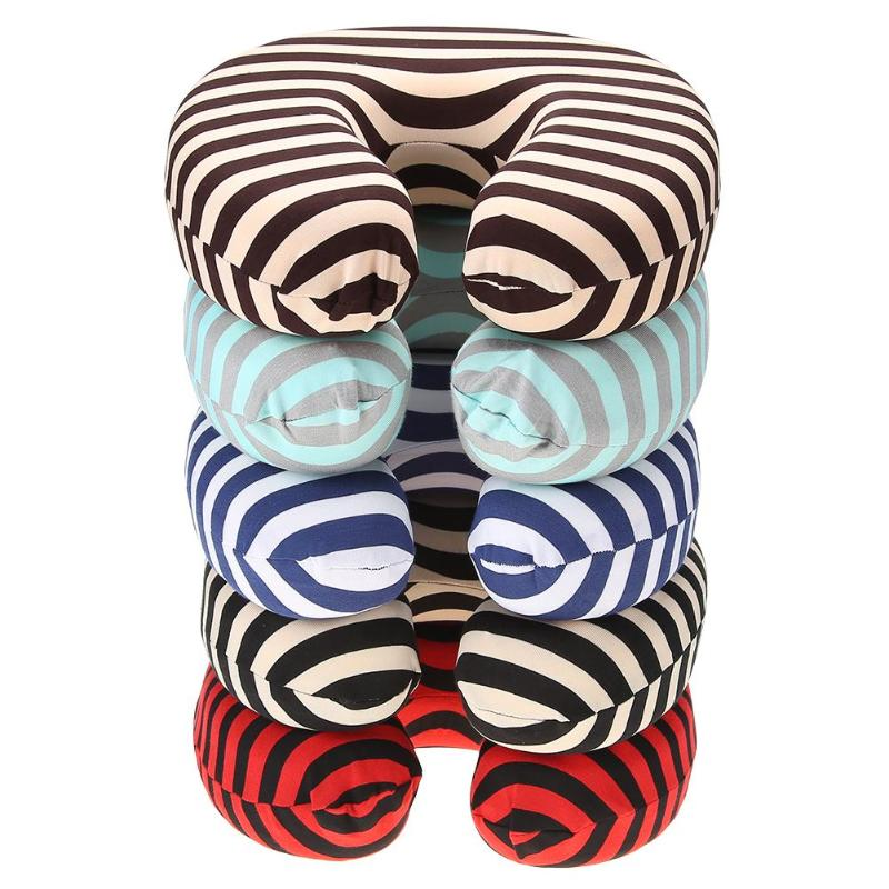 Striped Neck Travel Pillow Filling Foam U Shape Pillows Cushion Soft Foam Particle Pillows For Airplane Traveling Office Cushion