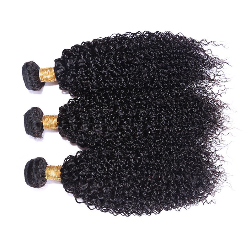 Indian Virgin Hair Kinky Curly Weaves for Women 3 Bundles Black Human Hair Extension Weft Wholesale and Retail