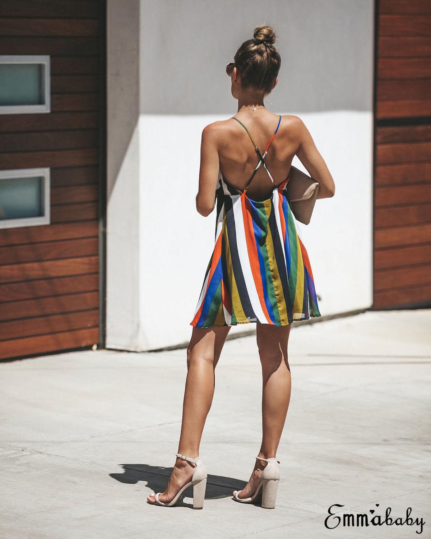 Women Dress Boho Mini Ladies Evening Party Dress Summer Beach Sundress Sleeveless Striped Sexy Vestidos