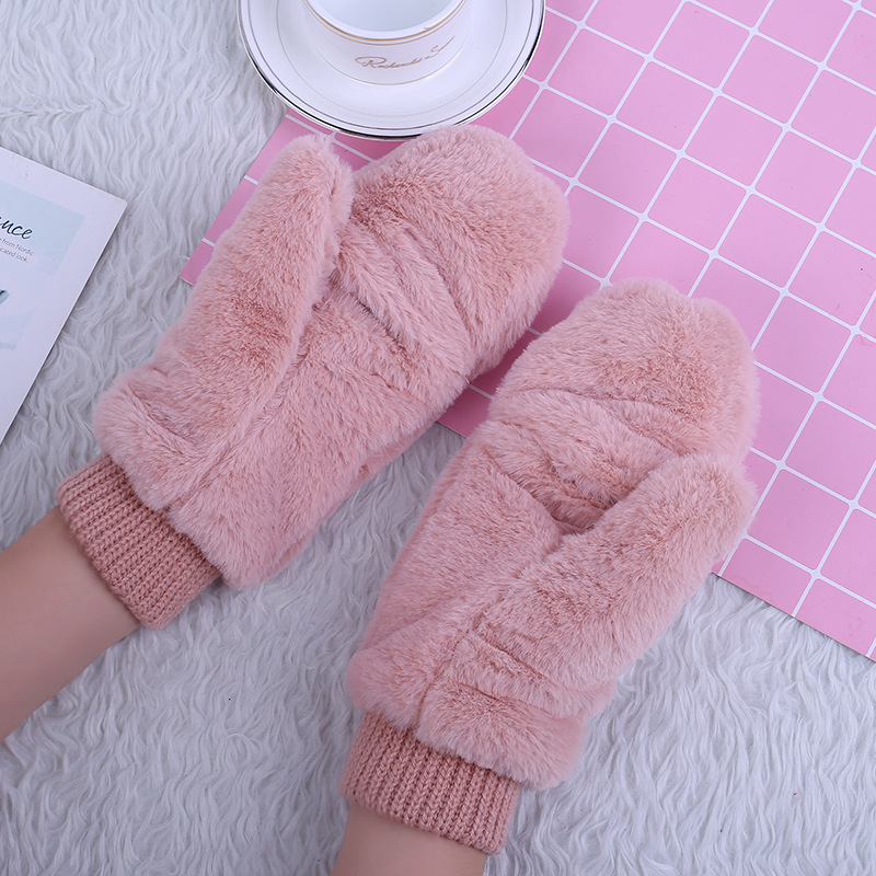 Ladies Hand Wrist Warmer Gloves Women Winter Cashmere Mittens Women's Fashion Velvet Knitted Flip gloves D18110806