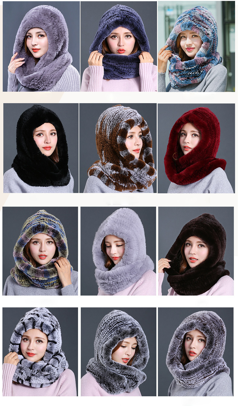 Hat Women 2017 New Knitted Real Rex Rabbit Fur Hat Hooded Scarf Winter Warm Natural Fur Hat With Neck Scarves (4)